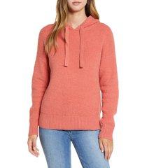 women's caslon sweater hoodie, size medium - coral