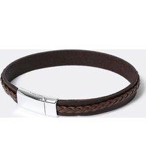 river island mens black two row leather bracelet