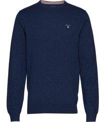 cotton wool crew stickad tröja m. rund krage blå gant