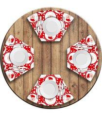 jogo americano   para mesa redonda wevans papai noel 4 peã§as.  love decor - multicolorido - dafiti