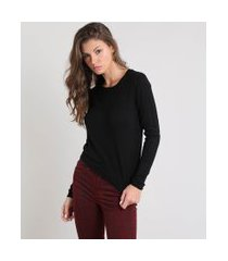 suéter feminino básico em tricô decote redondo preto