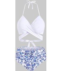 flower bird criss cross halter tummy control bikini swimwear