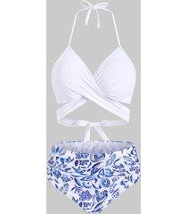 flower bird pineapple criss cross halter tummy control bikini swimwear
