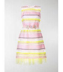 delpozo sheer striped belted dress