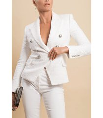 blanc six button tweed jacket