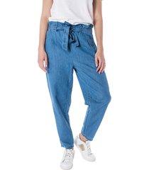 pantalón azul denim wave con pretina en resorte