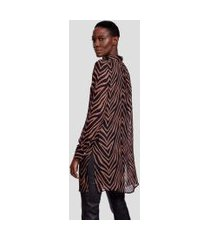 camisa longa estampada est zebra baez boho - 42