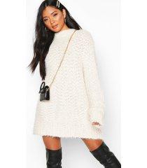 oversized premium boucle feather knit dress, cream