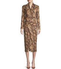 snakeskin-print faux wrap dress