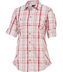 wolverine women's sidney roll-sleeve shirt raspberry plaid, size m