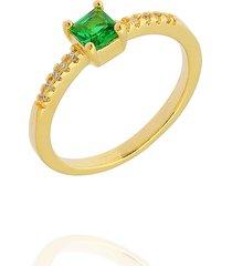 anel dona diva semi joias solitário quadrado verde