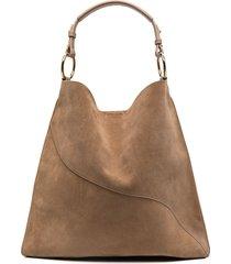 atp atelier suede curved-seam shoulder bag - brown