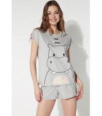 pigiama corto stampa hippo