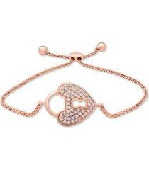 diamond padlock heart bolo bracelet (1/6 ct. t.w.) in 10k rose gold
