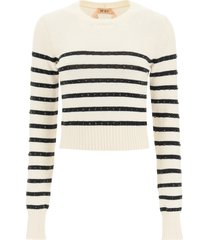 n.21 striped sweater with crystals