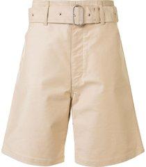 jil sander belted bermuda shorts - brown