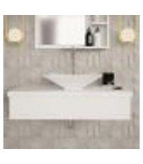 conjunto para banheiro bancada com cuba l38 folha city 800 branco chess