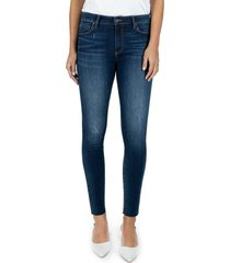 women's kut from the kloth connie high waist ankle skinny jeans, size 2 - blue