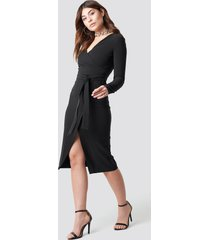 trendyol binding detailed midi dress - black