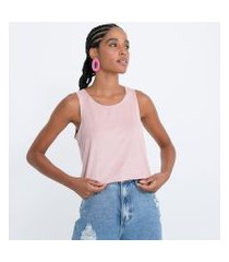 blusa regata em suede com decote redondo e alças largas | blue steel | rosa | gg