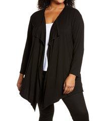 plus size women's vince camuto drape front open cardigan, size 3x - black