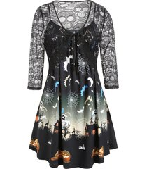 plus size hollow out halloween t shirt with cami tank top