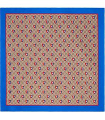 gucci gucci gg and bees crest print silk scarf.