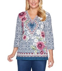 alfred dunner petite autumn harvest mixed print tunic