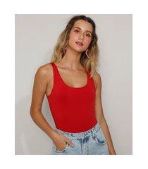 body feminino básico alça média decote redondo vermelho