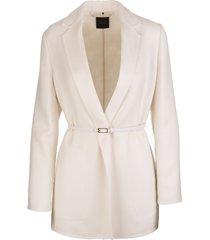 white belted cashmere blazer