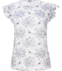 blusa m/s flores color blanco, talla m