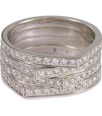 'antifer' diamond 18k white gold four row ring