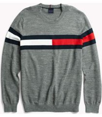 tommy hilfiger men's adaptive flag crewneck sweater medium grey/multi - m