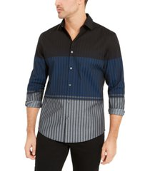 alfani men's classic-fit colorblocked ombre stripe shirt, created for macy's