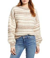 women's vero moda leya stripe crewneck sweater, size small - beige