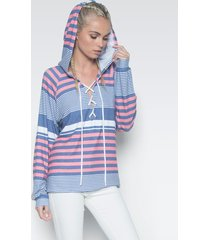 carson lace up hoodie - l waypoint stripe white