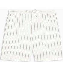mens cream ecru and black stripe woven tailored shorts