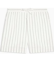 mens cream ecru and black stripe woven tailored shorts