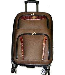 maleta de lona s2 mediana 24pulgadas- café con naranja