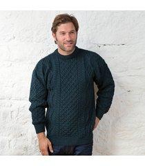 springweight new wool crew neck sweater dark green small