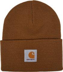 carhartt brown logo patch beanie