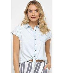 camiseta jeans malwee tradicional amarração feminina - feminino