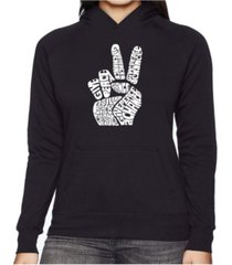 la pop art women's word art hooded sweatshirt -peace fingers