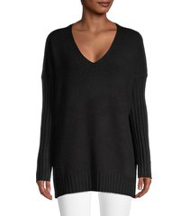 french connection women's ribbed longline sweater - black - size xs
