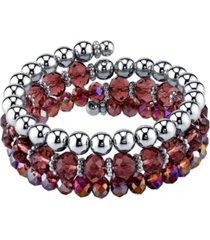 2028 silver-tone amethyst beaded coil bracelet