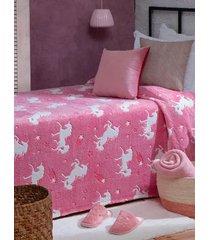 manta solteiro brilha no escuro jolitex rosa