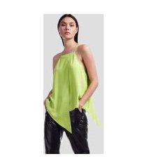 blusa de crepe folhas verde neon - 44