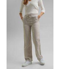 pantalón mujer de lino beige esprit