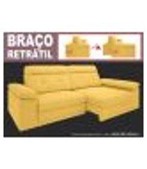 sofá glamour 2,50m assento com braço retrátil e reclinável velosuede canario - netsofas