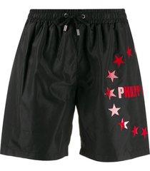 philipp plein short de natação com estampa de estrelas - preto